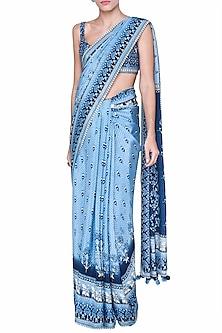 Light Blue Printed Saree Set by Anita Dongre