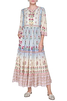 Beige Printed Motif Dress by Anita Dongre