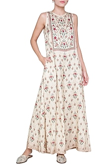 Beige Floral Sleeveless Jumpsuit by Anita Dongre