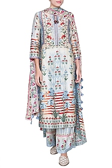 Soft Blue Printed Kurta Set by Anita Dongre