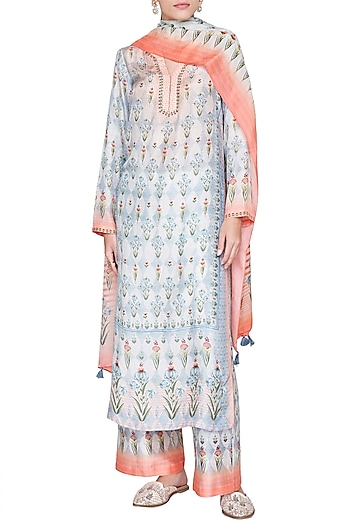 Blue Printed V-Neck Kurta Set by Anita Dongre