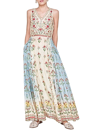 Beige Printed Ombre Dress by Anita Dongre