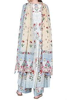 Blue Floral Printed Asymmetric Kurta Set by Anita Dongre