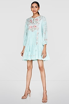 Powder Blue Embroidered Dress by Anita Dongre