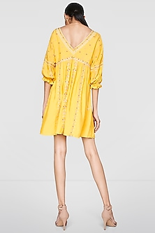 Yellow Resham Embroidered Dress by Anita Dongre