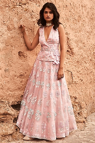 Pink Embroidered Skirt Set by Anita Dongre