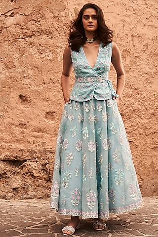 Powder Blue Embroidered Skirt Set by Anita Dongre