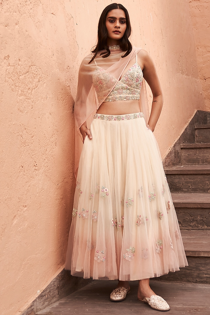 Natural Embroidered Skirt Set by Anita Dongre