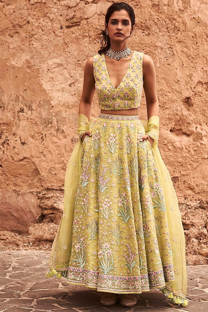 Lime Embroidered Skirt Set by Anita Dongre