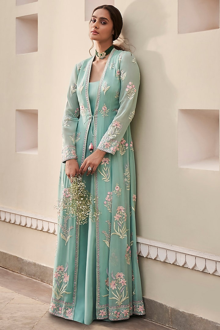 Aqua Embrodiered Jacket Set by Anita Dongre