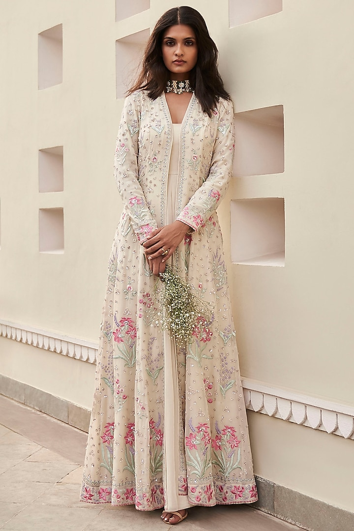 Ivory Embrodiered Jacket Set by Anita Dongre