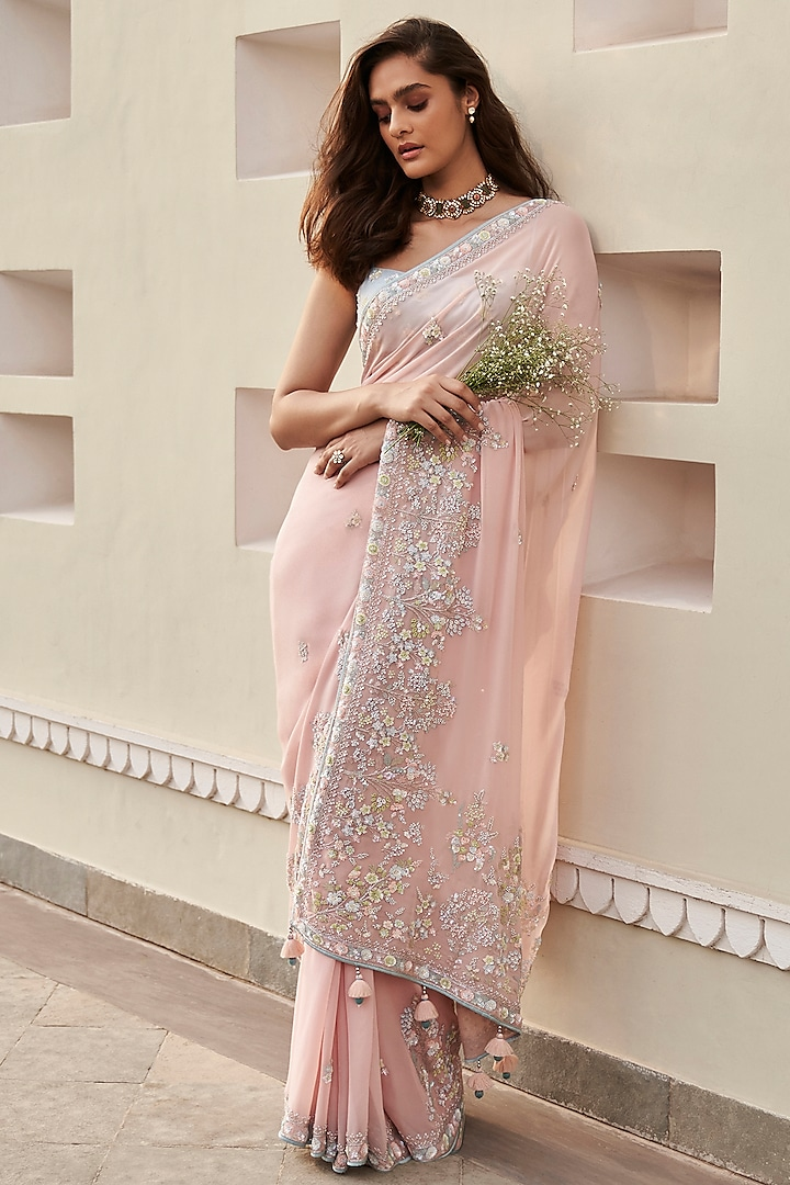Pink Embrodiered Saree Set by Anita Dongre
