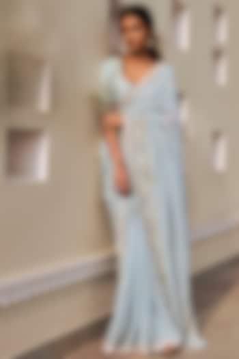 Powder Blue Embrodiered Saree Set by Anita Dongre