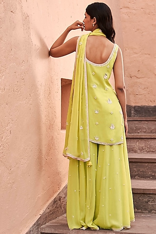 Lime Embroidered Sharara Set by Anita Dongre