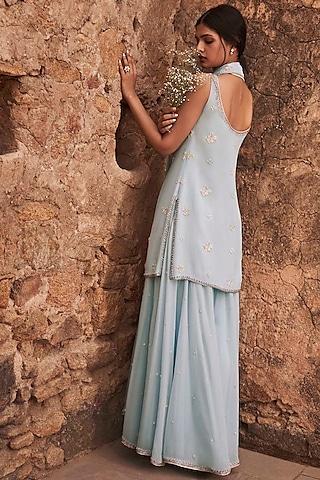 Powder Blue Embroidered Sharara Set by Anita Dongre
