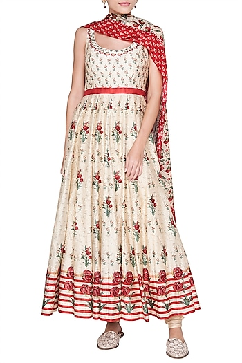 Beige Embroidered & Printed Anarkali Set by Anita Dongre