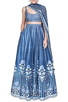 Blue Floral Printed Lehenga Set by Anita Dongre