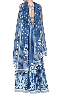 Blue Floral Printed Lehenga Set by Anita Dongre