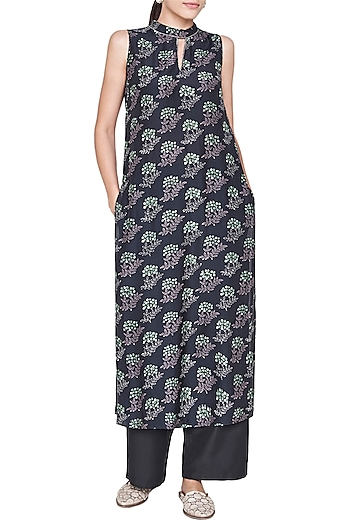 Black Block Printed Kurta by Anita Dongre