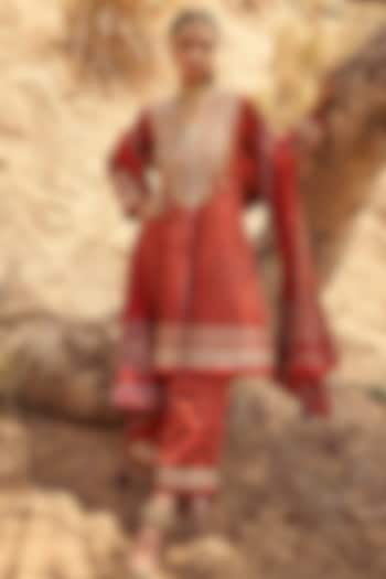 Red Hand Embroidered Ajrakh Kurta Set by Anita Dongre