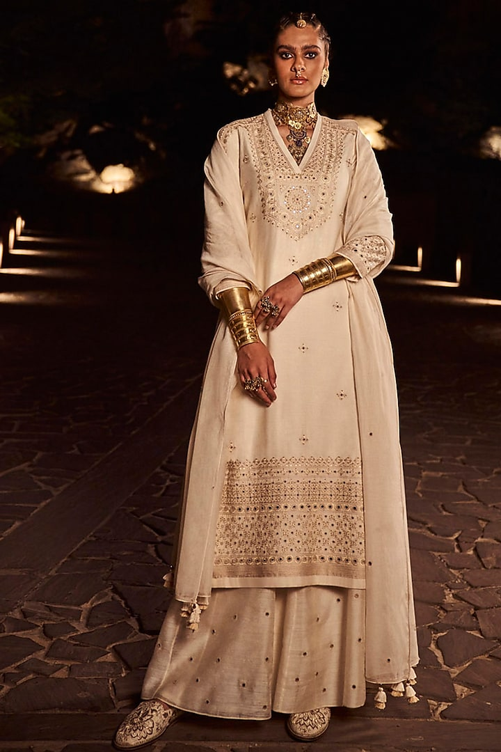 Ivory Hand Embroidered Sharara Set by Anita Dongre