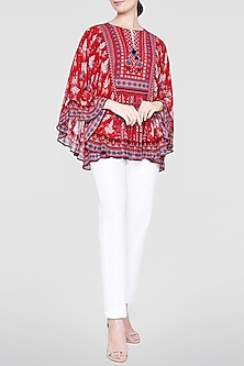 Red Floral Printed Top by Anita Dongre