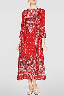 Red Floral Printed Tunic by Anita Dongre