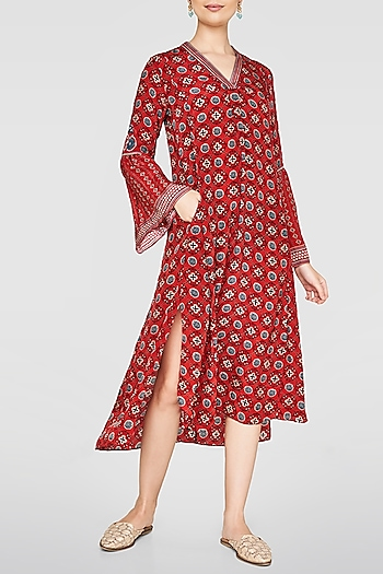 Red Printed Tunic by Anita Dongre