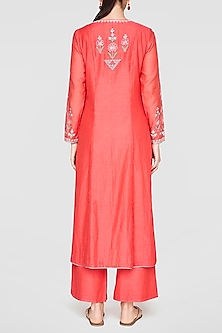 Coral Handcrafted Embroidered Kurta With Pants by Anita Dongre