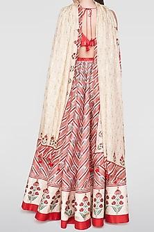 Red Printed Lehenga Set by Anita Dongre