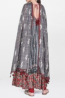 Grey Floral Printed Kurta Set by Anita Dongre