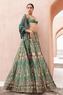 Emerald Green Floral Printed Lehenga Set by Anita Dongre