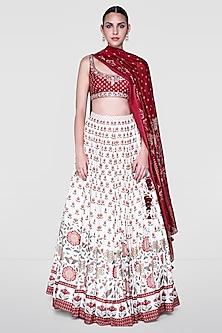 White & Red Lehenga Set With Blooms Detailing by Anita Dongre