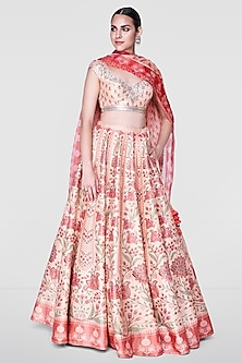 Rose Pink Embroidered Floral Lehenga Set by Anita Dongre