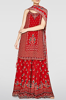 Red Printed Kurta Set by Anita Dongre
