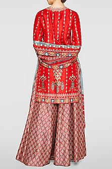 Red Printed Sharara Set by Anita Dongre