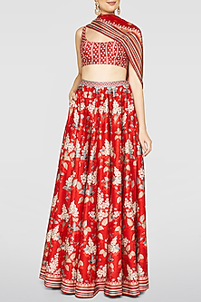 Red Printed Lehenga Set by Anita Dongre
