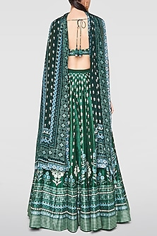 Green Printed & Embroidered Lehenga Set by Anita Dongre