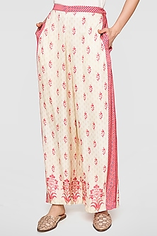 Beige & Pink Printed Trousers by Anita Dongre