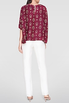 Plum Red Printed Top by Anita Dongre