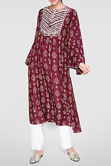 Plum Red Block Printed Kurta by Anita Dongre