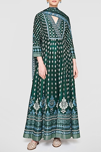 Lush Green Printed & Embroidered Kurta Set by Anita Dongre