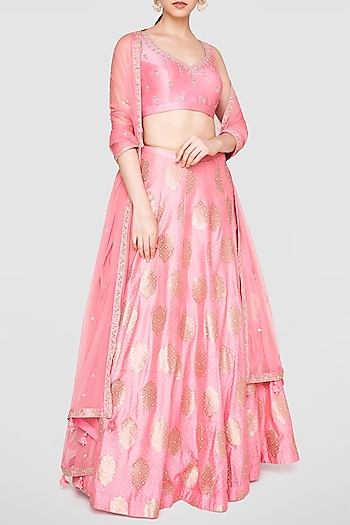 Pink Embroidered & Printed Lehenga Set by Anita Dongre