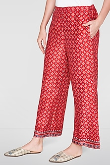 Red Printed Trouser Pants by Anita Dongre