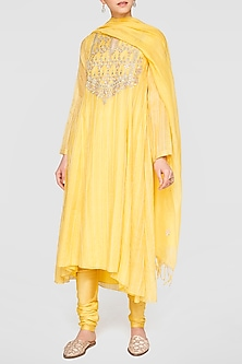 Yellow Embroidered Motif Kurta Set by Anita Dongre