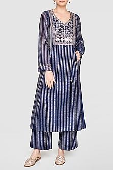 Indigo Blue Embroidered Kurta With Culotte Pants by Anita Dongre