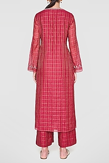 Wine Embroidered Kurta With Culotte Pants by Anita Dongre