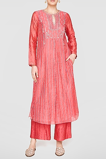 Coral Embroidered Kurta With Culotte Pants by Anita Dongre