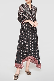 Black Printed Asymmetrical Dress by Anita Dongre