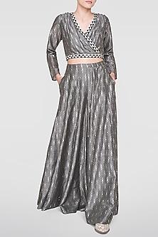 Grey Printed Crop Top With Sharara Pants by Anita Dongre